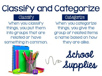 Classify and Categorize Anchor Chart