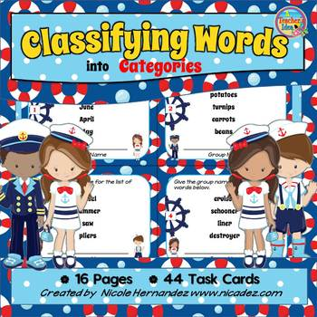 Main Idea Activities - Classify and Categorize Task Cards