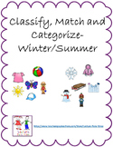 Classify & Categorize objects- Winter/Summer: Math Lessons 1-5