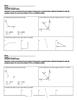 Classify angles exit ticket