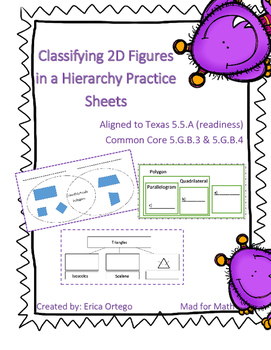 Classifying 2D Figures in a Hierarchy Practice Sheets 5.5A, 5.G.B.3, 5.G.B.4
