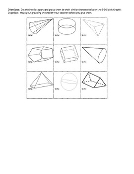 Classifying 3D Solids Graphic Organizer (Cut and Paste)