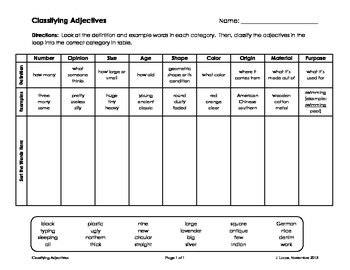 Classifying Adjectives