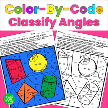 Classifying Angles Color By Code Math Puzzle