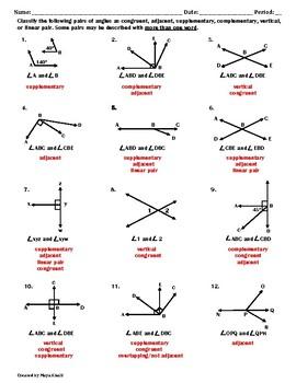 Classifying Angles Worksheet II