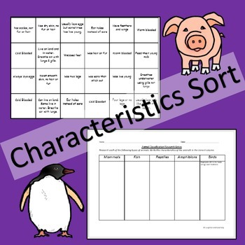 Animal Classification Sorting Cards and Research Activities