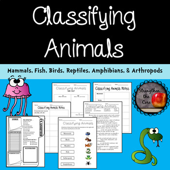 Classifying Animals Worksheets, Notes, and Research Project