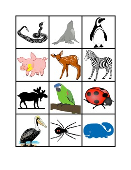 Classifying Animals - 90 picture/word cards for sorting, vocabulary, reading
