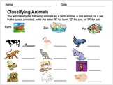 Classifying Animals Assessment (Farm, Zoo, or Pet)