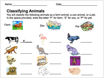 classifying animals assessment farm zoo or pet by educprek12. Black Bedroom Furniture Sets. Home Design Ideas