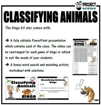 Classifying Animals Bingo
