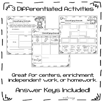 Animal Classification Differentiated Center Activities