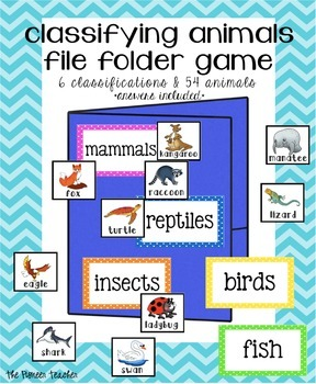 Classifying Animals File Folder Game