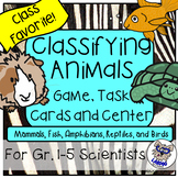 Classifying Animals Games, Task Cards, and Science Center