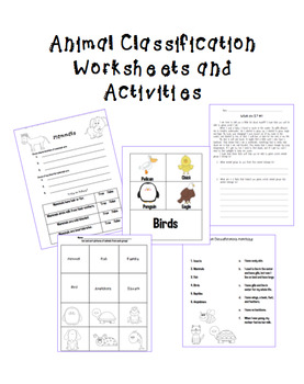 Classifying Animals Pack
