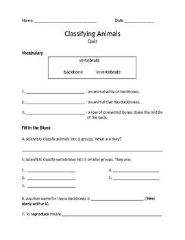 Classifying Animals Quiz