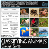 Classifying Animals Science Concept Sorts