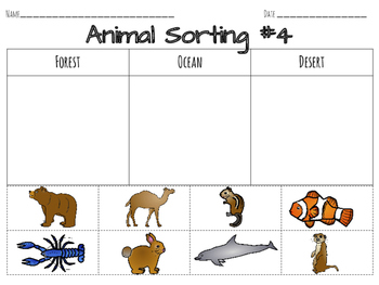 Classifying Animals Sorting Worksheets & Center