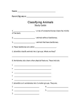 Classifying Animals Study Guide