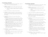 Classifying Animals: Vertebrates & Invertebrates Notes