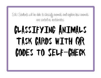 Classifying Animals (Vertebrates) with QR Codes to Self-Check