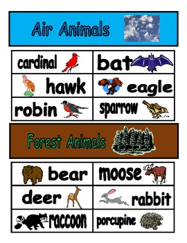 Classifying Animals sorting activity