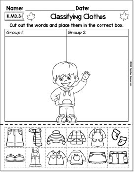 Classifying Clothes - Math Activity K.MD.3