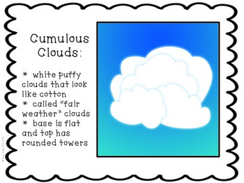 Clouds - Grades 2 - 4 - What type of weather do they mean?