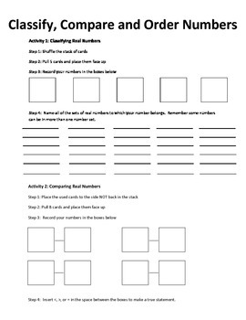 Classifying, Comparing And Ordering Real Numbers By Mrs Allen\u0027s Math Classifying Real Numbers Mystery Pattern Classifying, Comparing And Ordering Real Numbers