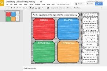 Classifying Conics Card Sort Digital Activity