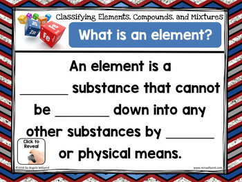 Chemistry: Classifying Matter -Elements, Compounds, Mixtures- Think, Pair, Share