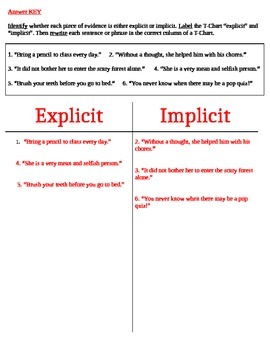 Classifying Explicit vs. Implicit Information: T-Chart (DOK 2)