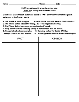 Classifying Fact and Opinion; Fact vs. Opinion Activity/Assessment