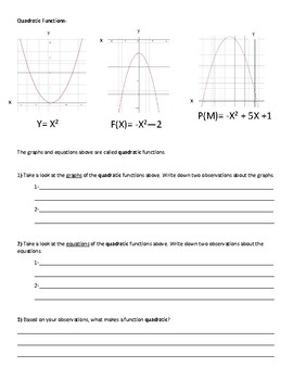 Classifying Functions- Linear, Quadratic, Exponential, and Absolute Value