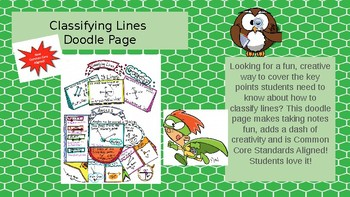 Classifying Lines Math Doodle Page