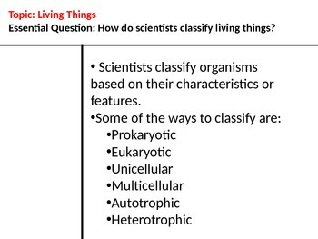 Classifying Living Things Notes