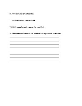 Classifying Living Things Study Guide