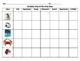 Classifying Living/Non-Living Things using 7 Divisions of Classification (chart)