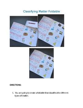 Classifying Matter Foldable (Element, Compound, Mixtures)