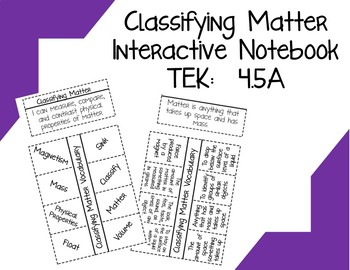 Classifying Matter Interactive Notebook TEK:  4.5A