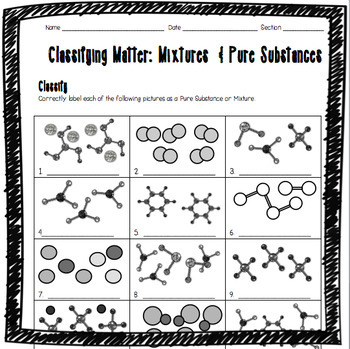 Classifying Matter: Mixtures and Pure Substances Worksheet