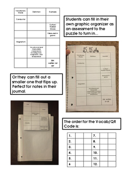 Classifying Matter QR Code Vocabulary Puzzle
