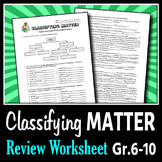 Classifying Matter - Review Worksheets {Editable}