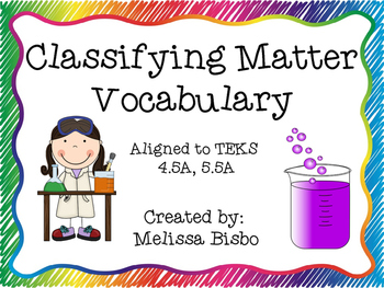 Classifying Matter Vocabulary Posters 5.5A