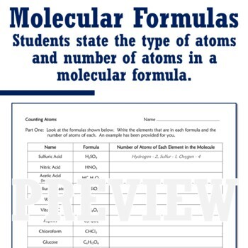 Classifying Matter Worksheet Counting Atoms in Compounds ...
