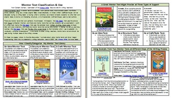 Classifying Mentor Texts for Writing Lessons that Differen
