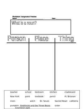 Classifying Nouns Lesson Plan with Activities attached