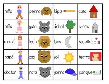 Classifying Nouns: Literacy Center (SPANISH)