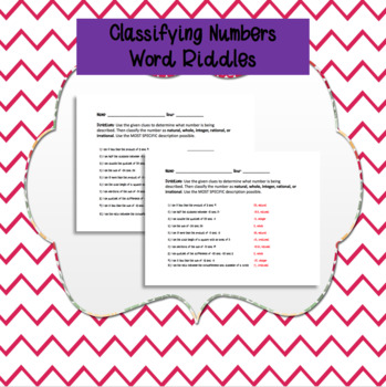 Classifying Numbers Word Riddles