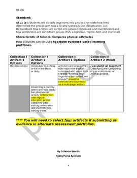 Classifying Organisms Aligned to Standards Modified for Special Education